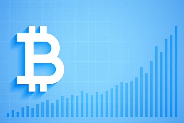 Bitcoin digital crypto currency growth graph chart Free Vector