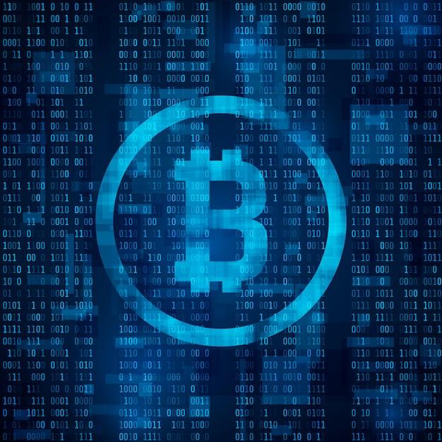 Цифровая валюта биткойн. блокчейн-система криптовалюты и майнинга. символ биткойна на синем двоичном коде. абстрактный фон иллюстрации Premium векторы