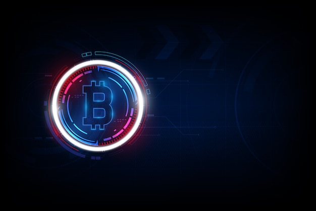 Bitcoin digital currency, futuristic digital money, technology worldwide network concept. Premium Vector