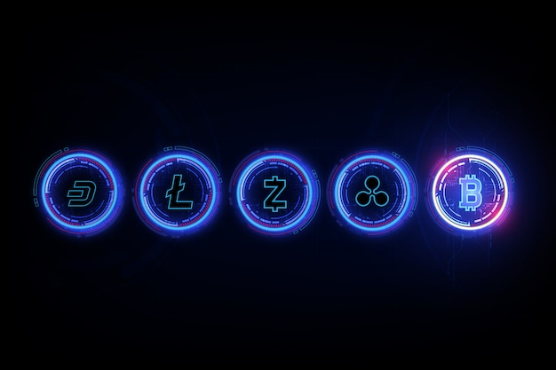 Bitcoin digital currency, litecoin, ripple, dash ,and zcash in form of newton cradle, fintech world finance concept. Premium Vector