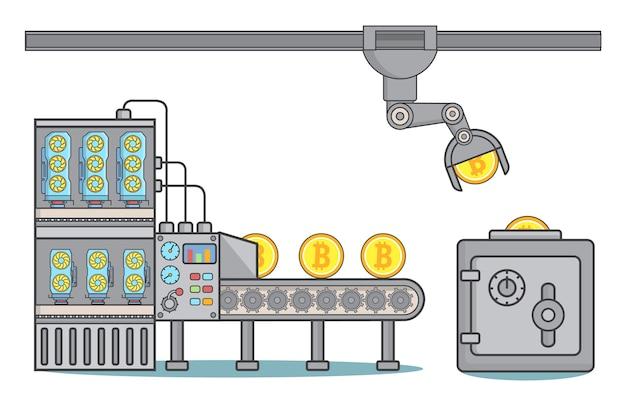 Иллюстрация концепции фабрики биткойнов в линейном стиле Premium векторы