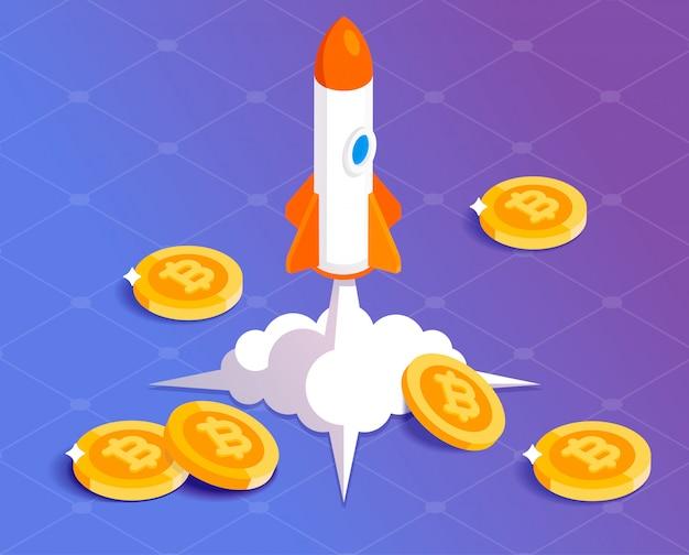 Bitcoin financial system grows illustration Premium Vector