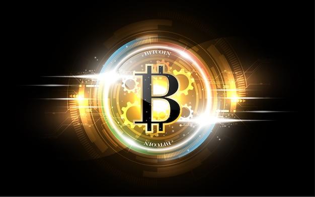 Bitcoin gold money futuristic network business concept Premium Vector