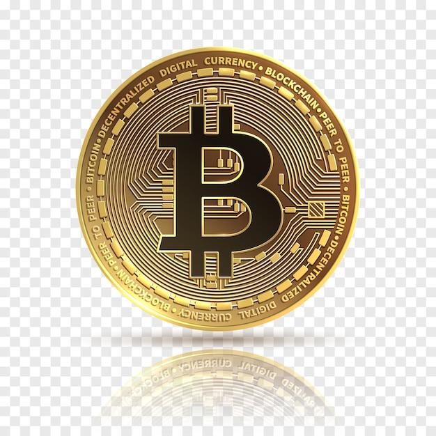Bitcoin. золотая криптовалюта монета. электроника финансы деньги символ. Premium векторы