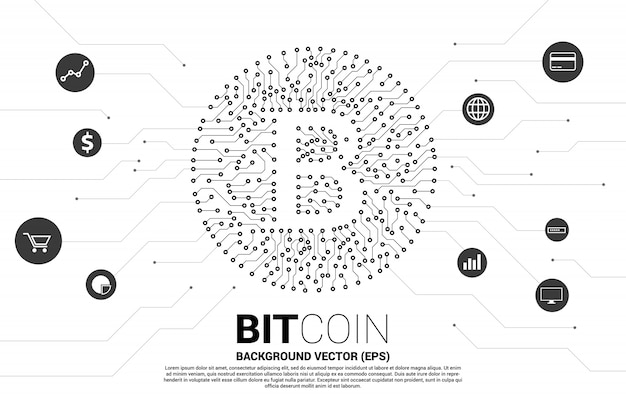 Bitcoin icon from circuit board style dot connect line Premium Vector