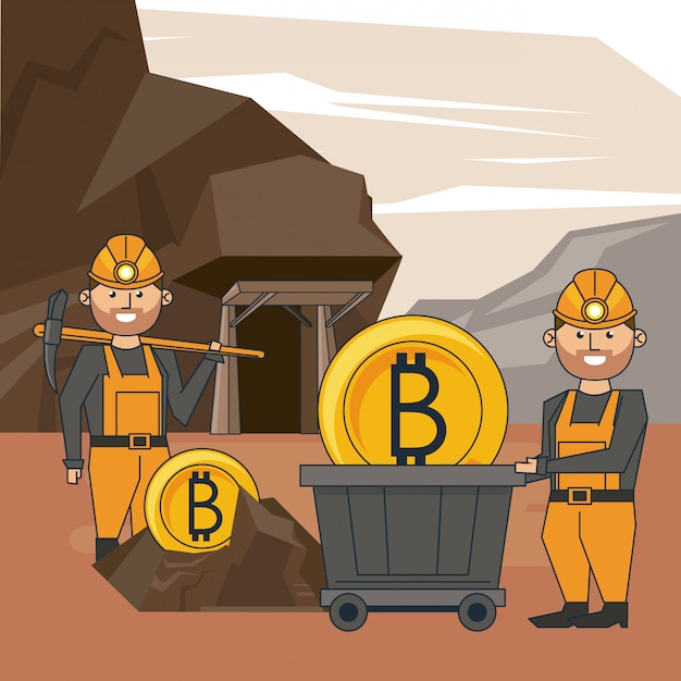 Bitcoin mining cartoons Premium Vector