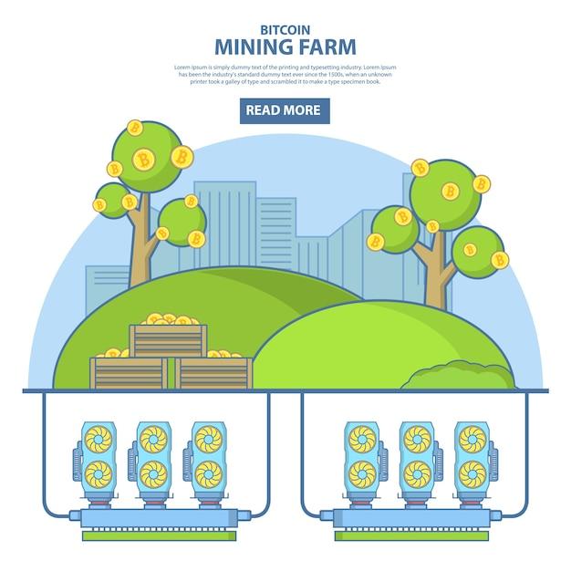 Иллюстрация концепции фермы по добыче биткойнов в линейном стиле Premium векторы