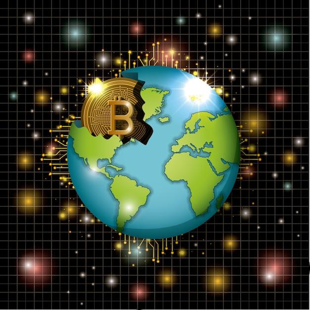 Добыча биткойнов на мировой планете Premium векторы