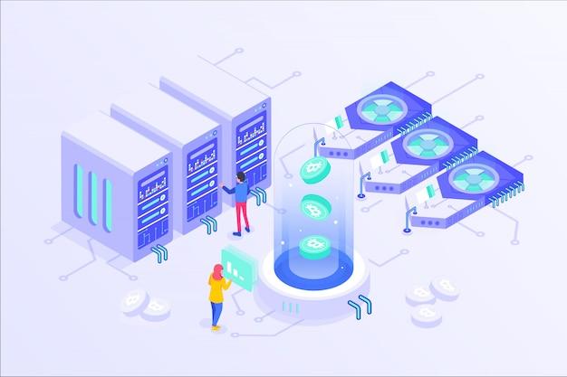 Блоковая криптовалюта bitcoin mining online server изометрические вектор illustartion дизайн Premium векторы