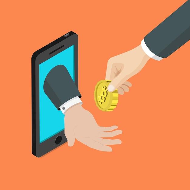 Accettazione del metodo di pagamento mobile bitcoin piatta Vettore gratuito
