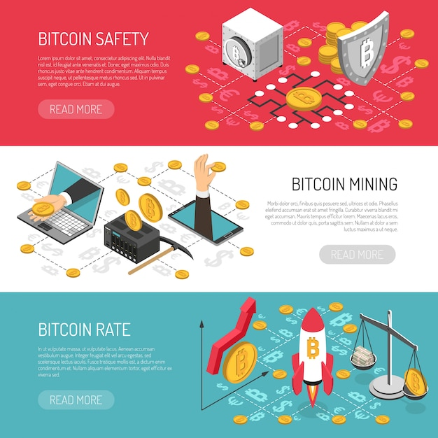 Bitcoin rate safety isometric banners Free Vector