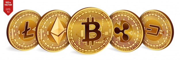 Bitcoin. ripple. ethereum. dash. litecoin. 3d physical golden coins. crypto currency. Premium Vector