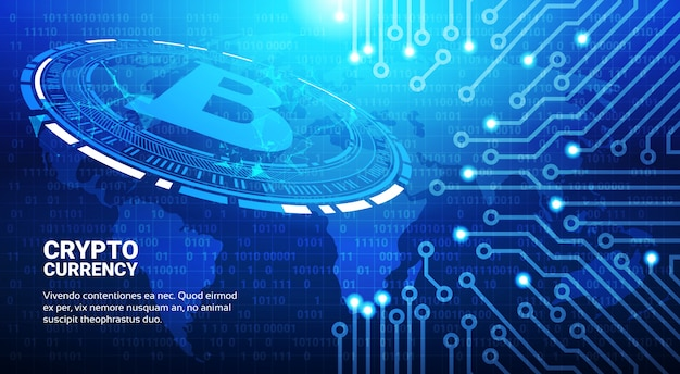 Bitcoin symbol on blue world map background crypto currency mining network concept Premium Vector