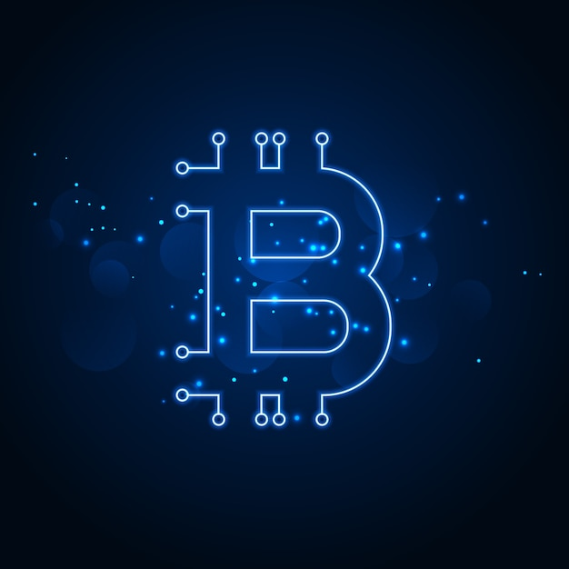 Bitcoin technology network digital background Free Vector