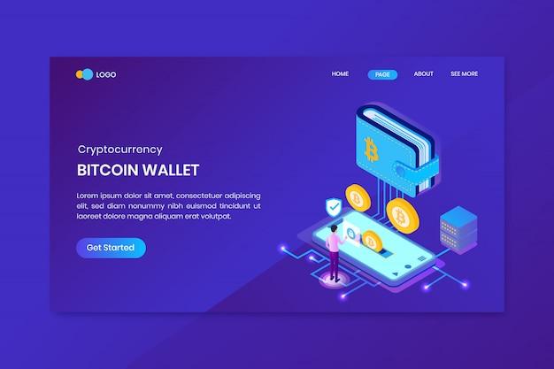 Шаблон целевой страницы криптовалюты bitcoin wallet Premium векторы