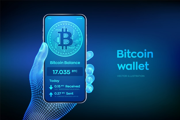 Bitcoin wallet interface on smartphone screen. closeup mobile phone in wireframe hand. Premium Vector