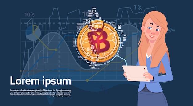 女性ホールドデジタルタブレットゴールデンbitcoinモダン通貨クリプトwebチャートとグラフの背景 Premiumベクター