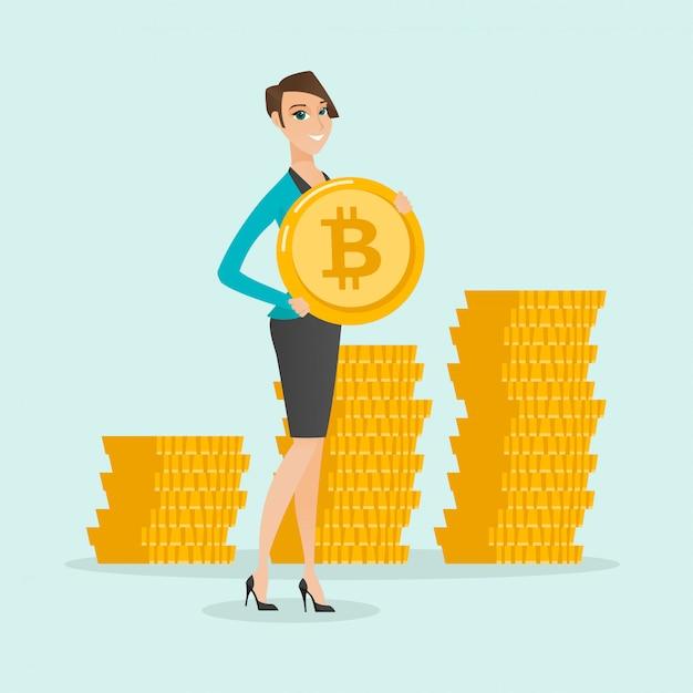 Молодая успешная бизнес-леди с монеткой bitcoin. Premium векторы