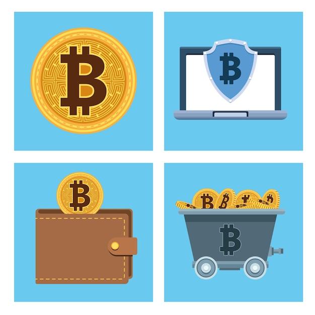 Биткойны кибер-деньги технологии набор иконок векторные иллюстрации дизайн Premium векторы