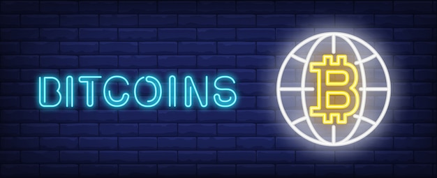 Bitcoins illustration in neon style. text, globe and bitcoin on brick wall background. Free Vector