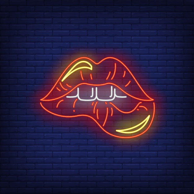 Biting red lips neon sign Free Vector