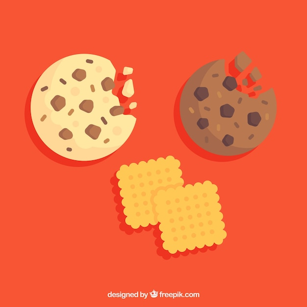 Bitten chocolate cookie Premium Vector