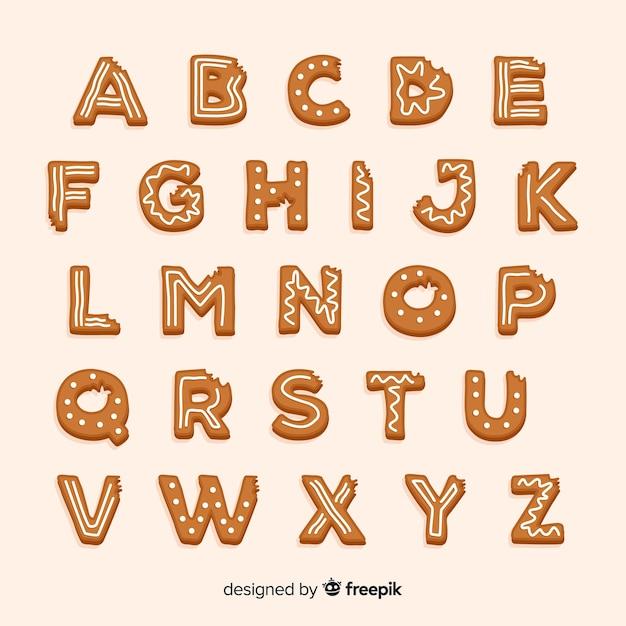 Bitten gingerbread alphabet Free Vector