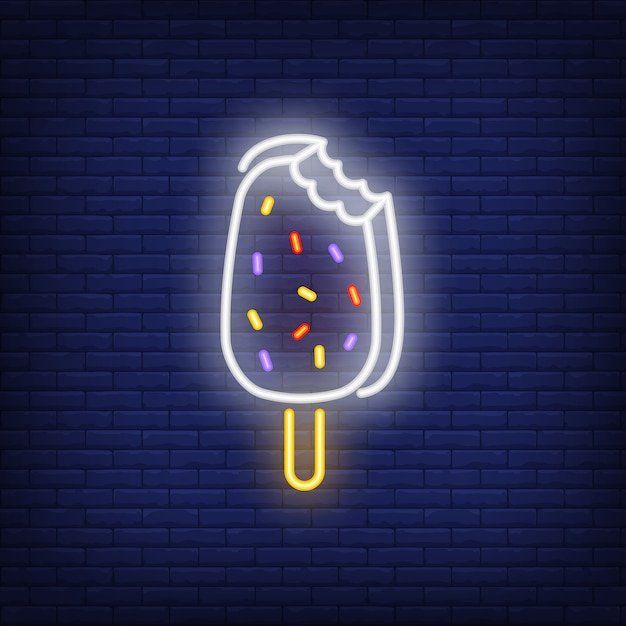 Bitten ice-cream bar neon sign Free Vector