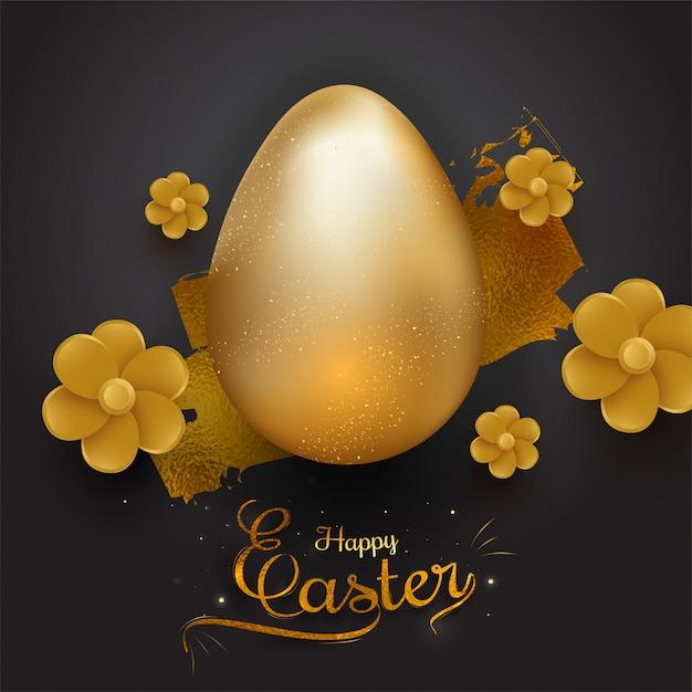 リアルなきらびやかな黄金色の卵とblの美しい花 Premiumベクター
