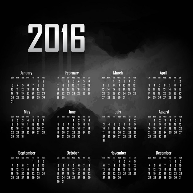 Black 2016 calendar Vector | Free Download