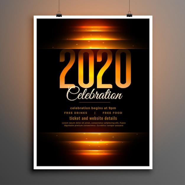 Black 2020 celebration flyer template Free Vector