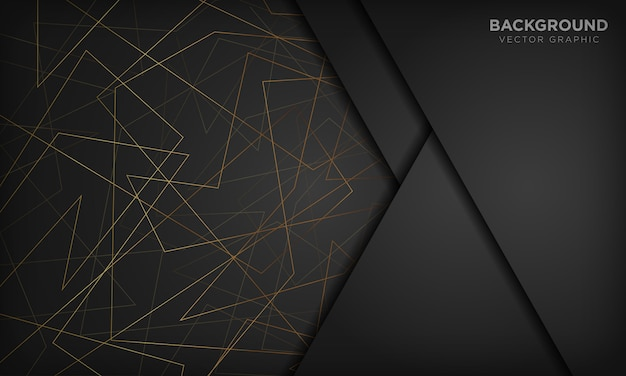 Black abstract background with gold lines. modern technology concept. Premium Vector