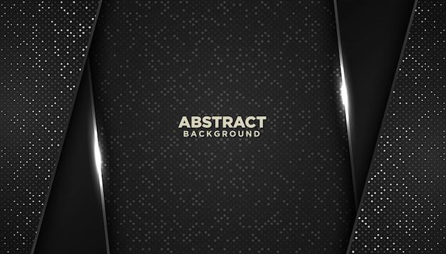 Latar belakang geometris abstrak hitam dengan dekorasi elemen titik berkilau Vektor Premium