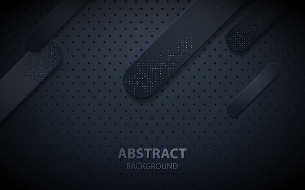 Black abstract geometric realistic decoration Premium Vector