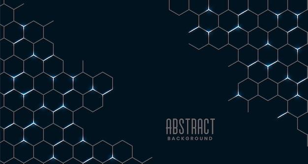 黒の抽象的な六角形メッシュ接続 無料ベクター