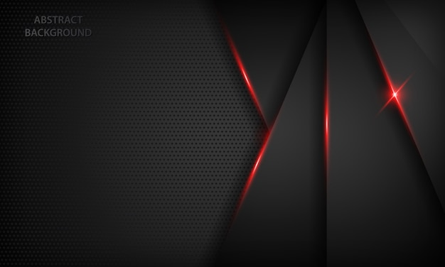 Black abstract overlap background. texture with red metallic effect. Premium Vector
