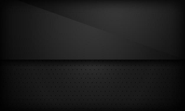 Black abstract overlap background. Premium Vector