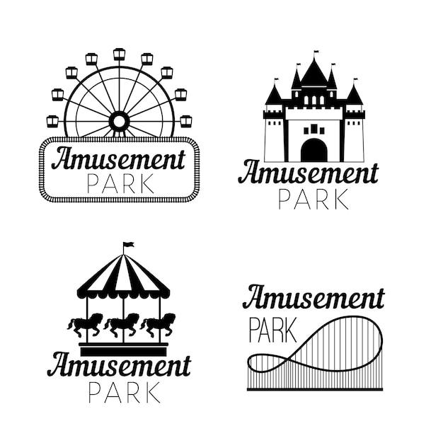 Black amusement park emblems Premium Vector