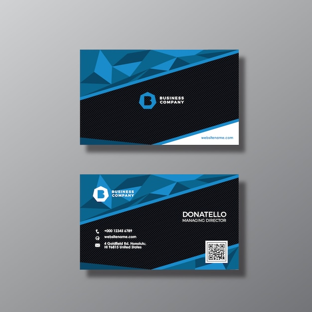 Black And Blue Business Card Design Free Vector