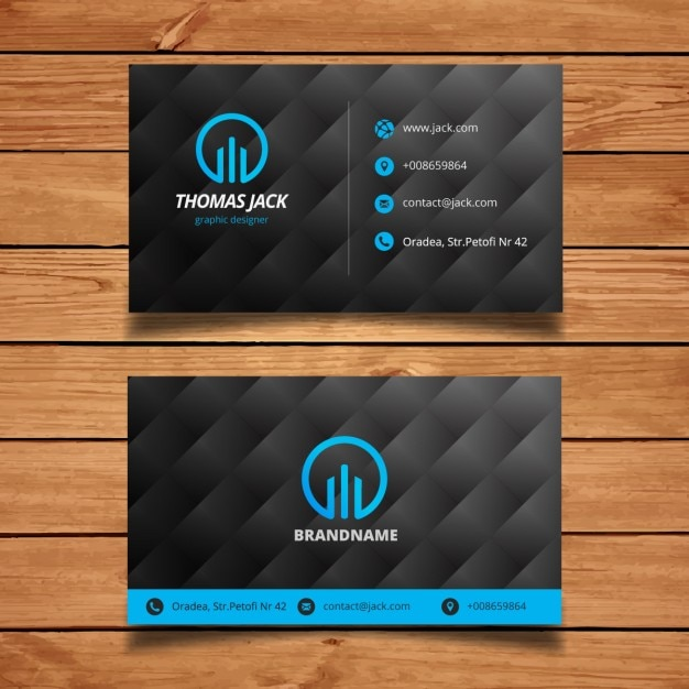 Black and blue modern business card template vector free for Business card template black