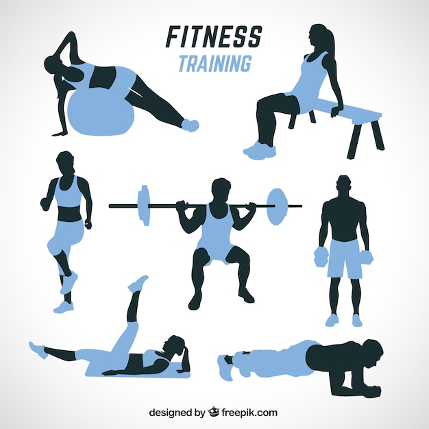 Black and blue silhouettes doing different\ workouts