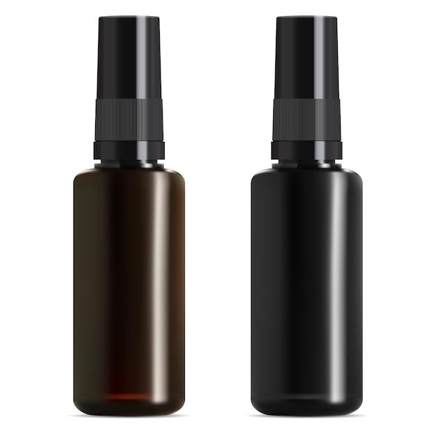 黒と茶色のガラス製医療ボトル。エッセンシャルオイルバイアル。 Premiumベクター