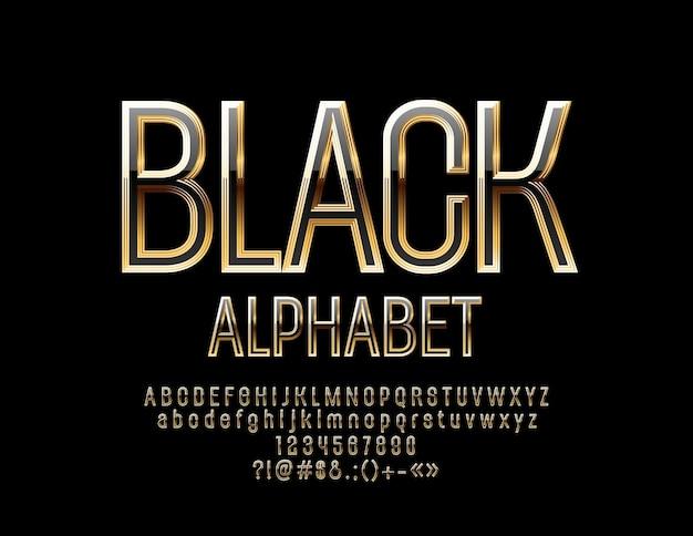 검정색과 금색 알파벳 문자, 숫자 및 기호. Shiny Chic 글꼴 프리미엄 벡터