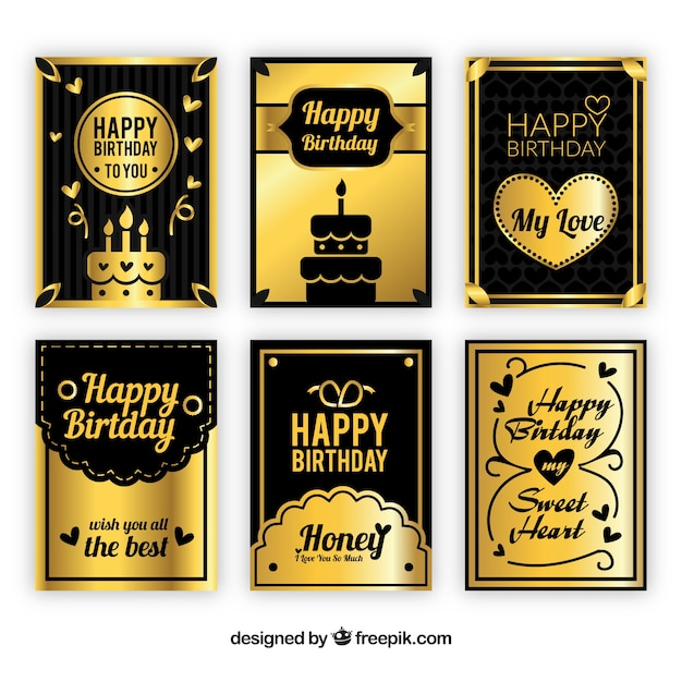 Black And Gold Birthday Cards Collection Vector Free Download