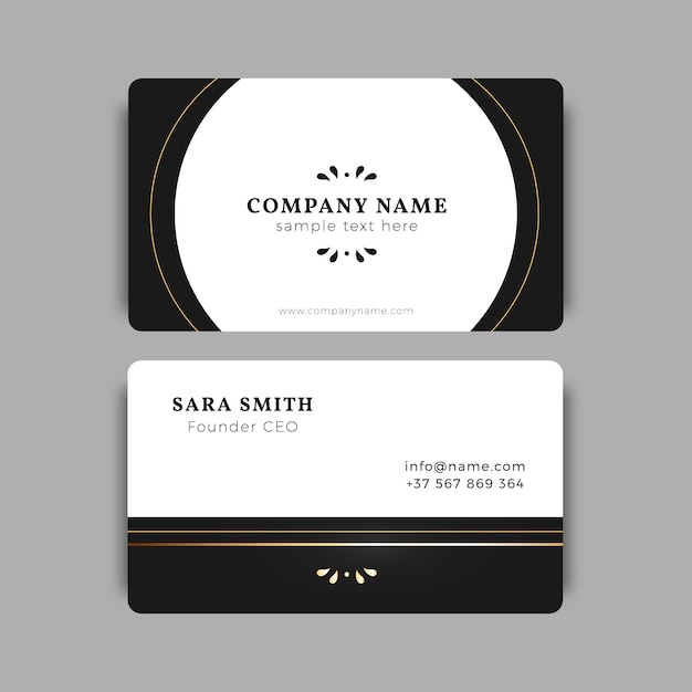 Black and gold business card template vector free download black and gold business card template free vector reheart Image collections