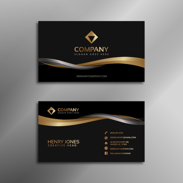 Black And Gold Business Card Vector Free Download