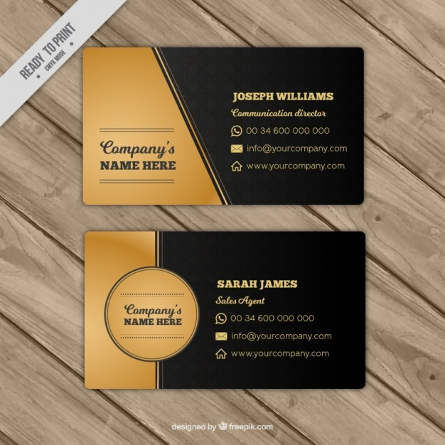 Black and gold business card vector free download black and gold business card free vector reheart Choice Image