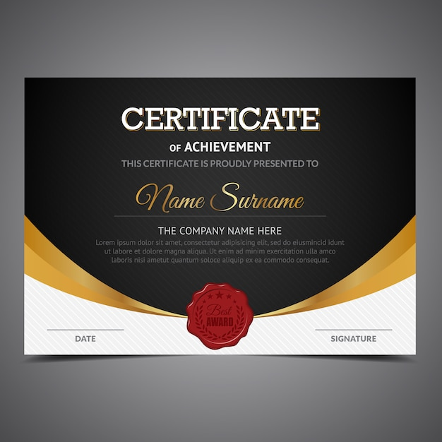 Black and gold certificate of achievement Vector | Free ...