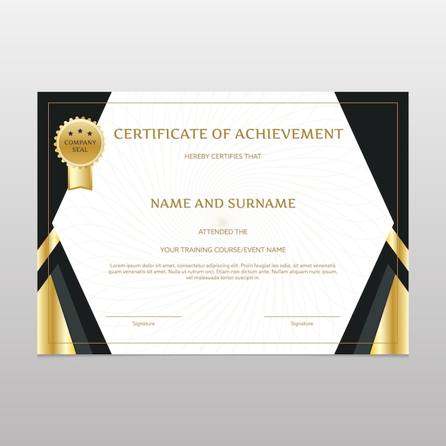 Black And Gold Certificate Of Achievement Vector Free