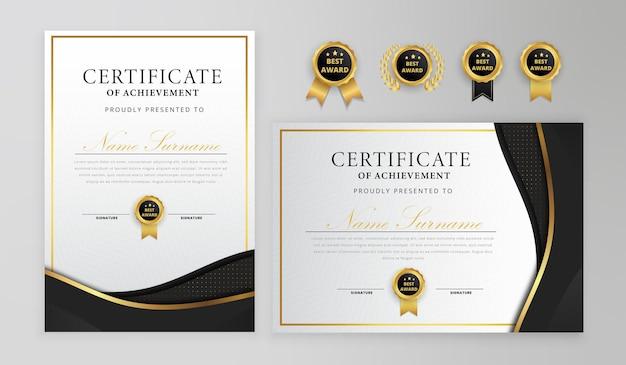 バッジとボーダーテンプレート付きの黒と金の証明書 Premiumベクター